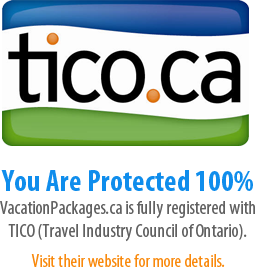 Tico.ca - You Are Protected 100% - VacationPackages.ca is fully registered with TICO (Travel Industry Council of Ontario). Visit their website for more details.